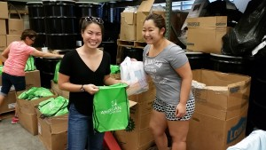 Volunteers from Banana Republic packing kits