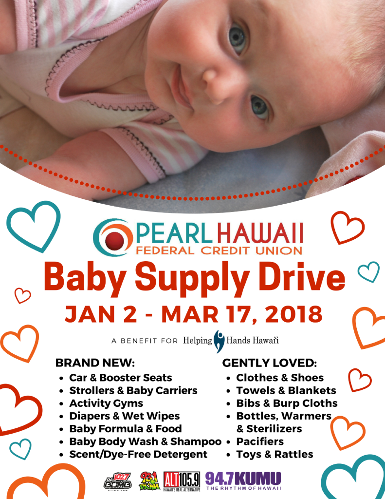 baby supply drive at pearl hawaii federal credit union helping