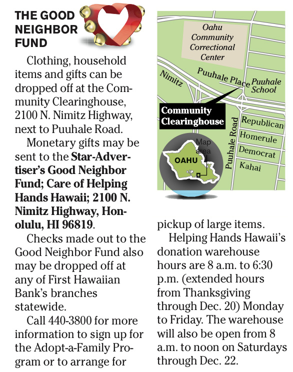Star Advertiser Adopt A Family Opening Story (11-23-14) | Helping ...